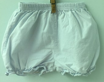 18 month, Classic Baby Bloomers, Blue and White Gingham Checked with Ruffled Hem