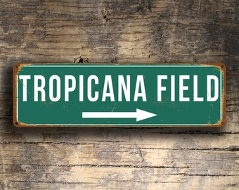 TROPICANA FIELD SIGNS, Vintage style Tropicana Field Sign, Home of the Tampa Bay Rays, Baseball Signs, Rays, baseball Gifts, Tampa Bay Rays