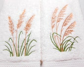Guest Towel Set, Two Hand Towels, Beach Theme, Sea Moss Designs, Hand Towels, Cotton Bamboo Silk, Plush Towels, Beach Decor, Lake House