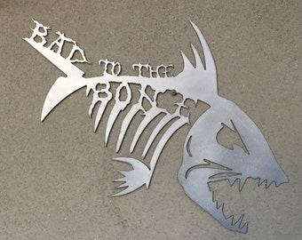 Bad to the Bone Fish Skelton Wall Art