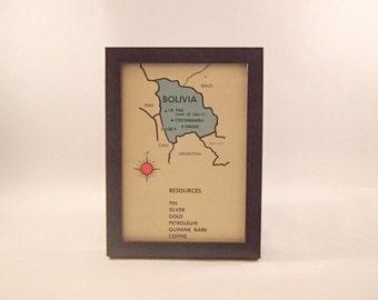 Bolivia framed vintage global flash card