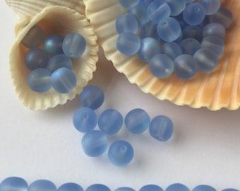 Czech Glass Light Sapphire / Light Blue AB Round Beads 6mm - 50 pieces
