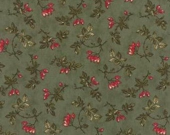 Moda Fabric- Winterlude Holly-Green Red Berries Floral #44043-14