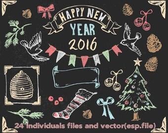 Chalkboard  Christmas Clipart, Digital Download ,Quotes Scrapbooking, Supplies, esp format file