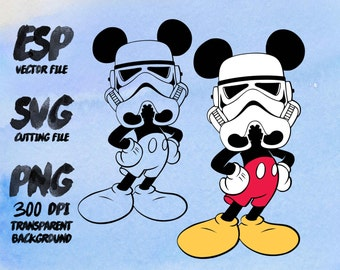 Mickey trooper  Star wars Clipart , SVG Cutting , ESP Vectors files , T shirt , iron on , sticker ,Personal Use