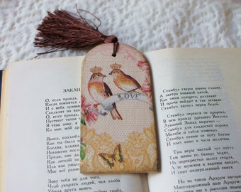 Mothers Gift for girlfriend Wooden bookmark Decoupage bookmark Romantic gift Accessories for book Bookmark with flowers Birds Bookmark love