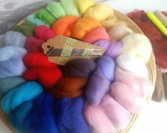 Needle Felting Kit with 100g Merino Roving in 36 colours