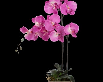 Fuchsia Silk Orchid Flower arrangement in Natural Wood Planter by SilkenBloom