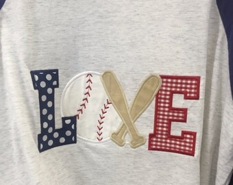 LOVE appliquéd baseball shirt