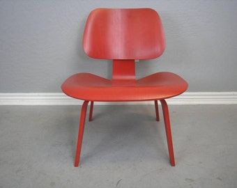 MCM Eames LCW Chair Painted in a Vibrant Red