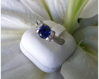 MADE TO ORDER- Sterling Silver 1ct Synthetic Sapphire Ring