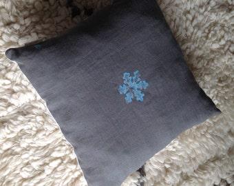 Snowflake linen cushion