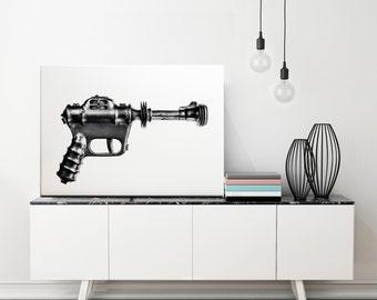 RAY GUN - Canvas art - Game room wall decor - Science fiction art - Buck Rogers toys - Sci fi gun - Atomic era - Home decor wall art