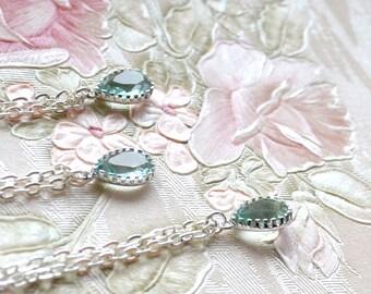 Mint bridesmaid necklace set of 6 six Erinite jewelry drop pendant Mint Jewelry Mint Necklace Pastel blue necklace Erinitie wedding gift