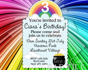 RAINBOW POT of GOLD Shaped Personalized Invitations Set of 12