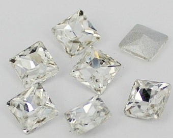 10mm Crystal Clear Square Swarovski Glass Point Back Pointed Angle Rhinestones - 10 Pieces
