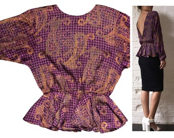 Silk Backless Top Longsleeve Paisley Houndstooth