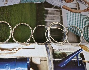 Double Twist with Square Twist Bangle Bracelet