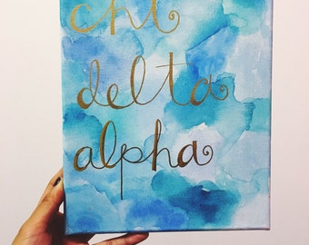 Painted Watercolor Canvas: Sorority