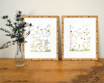 Set of 2 Chinoiserie Prints - SMc. Originals - watercolor print, affordable, art, home decor, shabby chic, classic, modern, nature scene