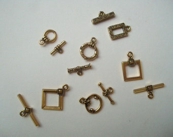 Tierracast gold toggles (6 pr.), mixed gold toggle clasps, Tierra cast gold toggles
