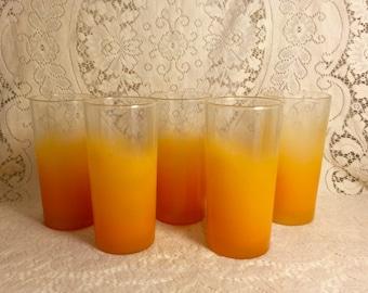 Frosted Orange glasses, orange Blendo style, set of five