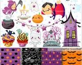 80%OFF - Halloween Clipart, Halloween Graphics, COMMERCIAL USE, Halloween Party, Planner Accessories, Pumpkin, Halloween Celebration
