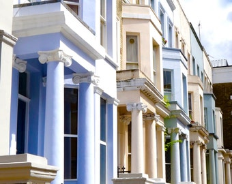 Notting Hill Blue Houses Photography, London Photography, Colorful Houses, Architecture Photography, Pastel Colors Houses, Houses of London