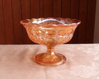 Orange Carnival Glass Candy Dish, Marigold Carnival Glass Candy Dish