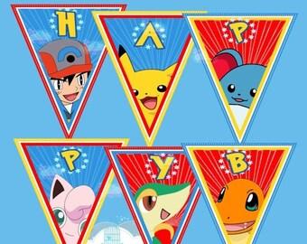 ON SALE Pokemon birthday banner, pokemon birthday decoration, pokemon digital