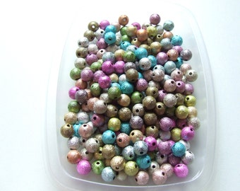 Y1451 Lot 30 beads round stardust multicolor spacer 8 mm