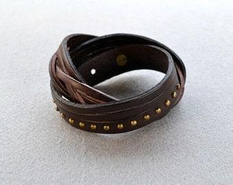 Genuine Leather Studded Bracelet Leather Cuff Stranded Wrap Bracelet