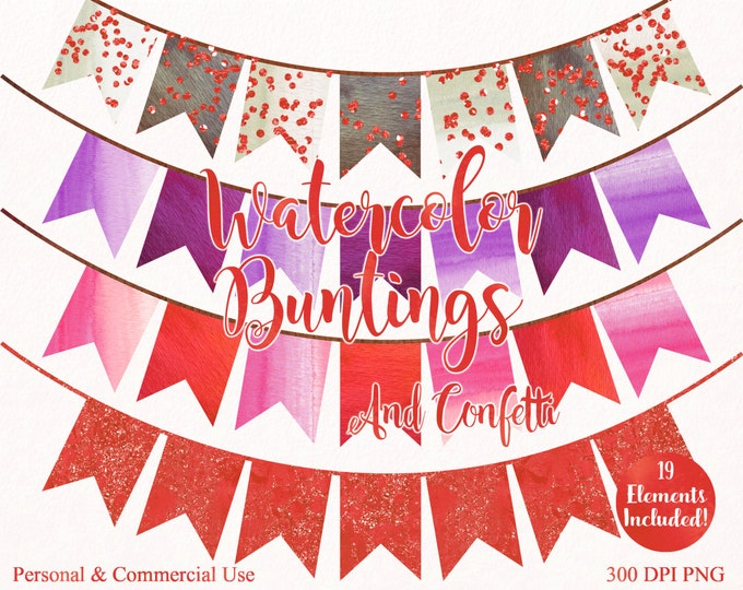 WATERCOLOR BUNTING BANNER Clipart Commercial Use Clipart 19 Watercolor Autumn Banner Coral Confetti Watercolor Party Invitation Clip Art