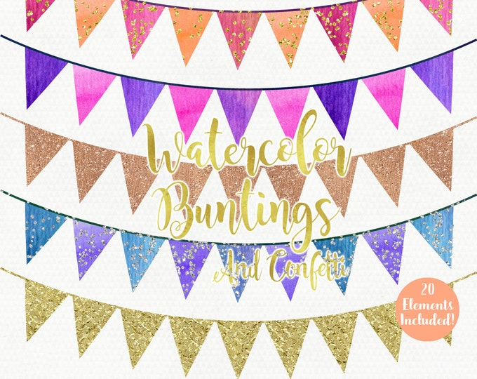 WATERCOLOR BUNTING BANNER Clipart Commercial Use Clipart Pennant Flag Banners Gold Confetti Watercolour Birthday Party Invitation Clip Art