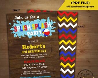 Splish Splash pool party birthday invitation summer party wood invite Instant Download editable text printable invite 5232