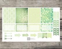 Vintage Green Planner Sticker Weekly Set - Erin Condren, Happy Planner - CUSTOM (1019)