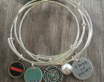 Personalized Fireman Bangle Stack