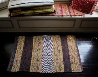 Hand Made Woven Rag Rug Chartreuse Brown