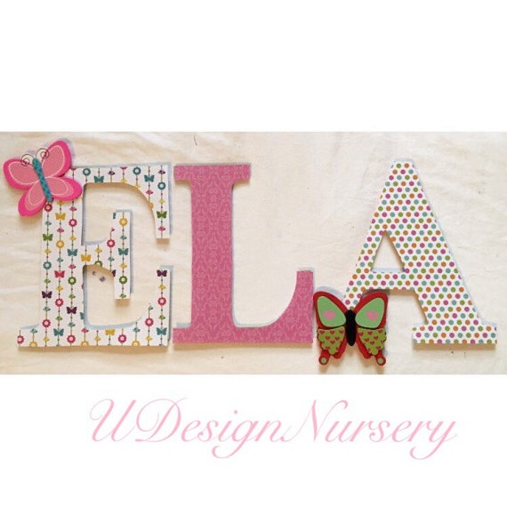 Butterfly themed wooden wall letters nursery decor for Baby room decoration letters
