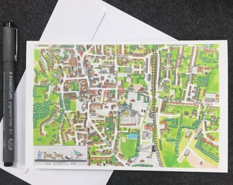 Dereham Map Greeting Card
