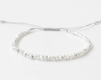 Silver Beaded Bracelet | Silver Nugget Bracelet | Dainty Silver Bracelet | Silver Lining | Layering Bracelet by C.Dahl, 15SBB