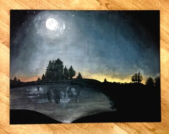 "Night Sky 18x24"" Cotton Framed Canvas Acrylic Painting"