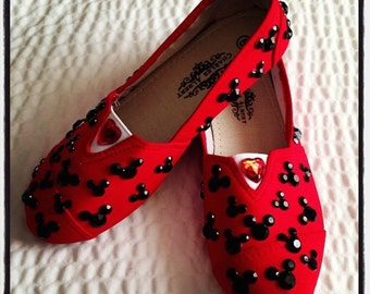 Rhinestone Mickey Mouse canvas shoes