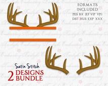 Deer Antlers Machine Embroidery Design : 0018