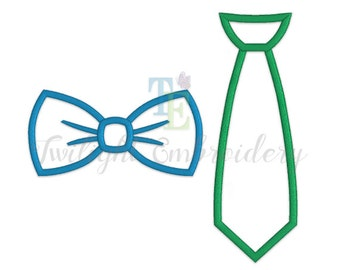 Set of 2 Bow Tie Applique Machine Embroidery Designs, Tie Applique Machine Embroidery Design 0022