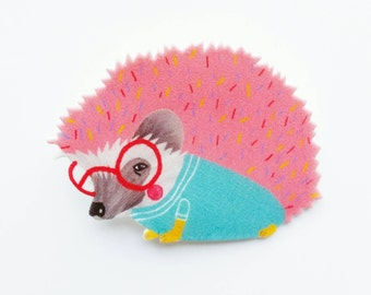 """Brooch // Pin // Hedgehog // shrink plastic // lllustrated jewelry // """"Sprinkles the Hedgehog"""" brooch or magnet // quirky jewelry"""