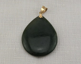 Necklace pendant focal, gold vermeil and jade tear drop pendant, large pendant