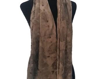 Fantastic black and orange silk scarf, botanical print, eco print