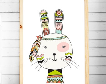 Nursery Print | Tribal Prints | Bunny Prints | Woodland Animal Prints | Nursery & Bedroom Decor | A4 A3 | Girls Wall Art