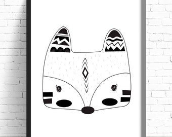 Monochrome Tribal Fox Print - Nursery Print - Kids Room Wall Art - A4 Print - 8x10 Print - Monochrome - Black & White - Tribal Fox